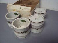 Tan Brown Reversible Stoneware Candle Holder Hand Made Japan Set Lot 4