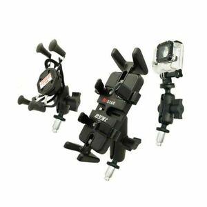 Fuer-Gopro-Telefon-Halter-RAM-Mount-w-Ball-Motorrad-Bike-Gabel-Stem-Metall-Basis
