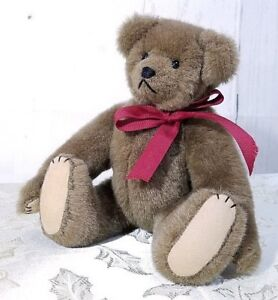 Karen-Haskell-Hand-Made-Stuffed-12-034-Brown-Teddy-Bear-Fully-Jointed-One-of-a-Kind