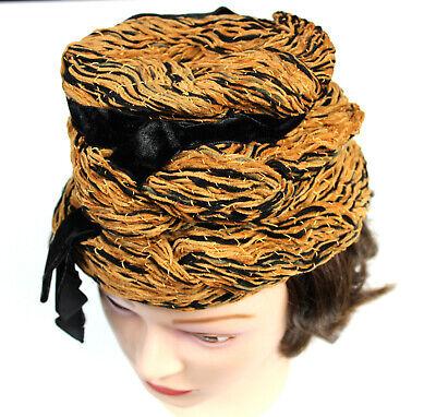 1960s McEwens of Perth Orange Turban-Style Hat SmallMedium