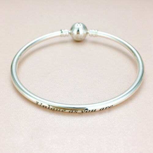 """Authentic 100/% 925 Sterling Silver Snowflake CZ /""""Unique As You Are/"""" Bangle"""