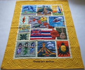 Hawaiian-quilt-baby-blanket-wall-hanging-hand-quilted-machine-appliqued-Yellow
