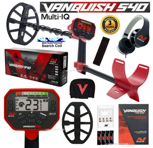 """Minelab VANQUISH 540 Metal Detector with 12/"""" x 9/"""" V12 WATERPROOF DD SEARCH COIL"""