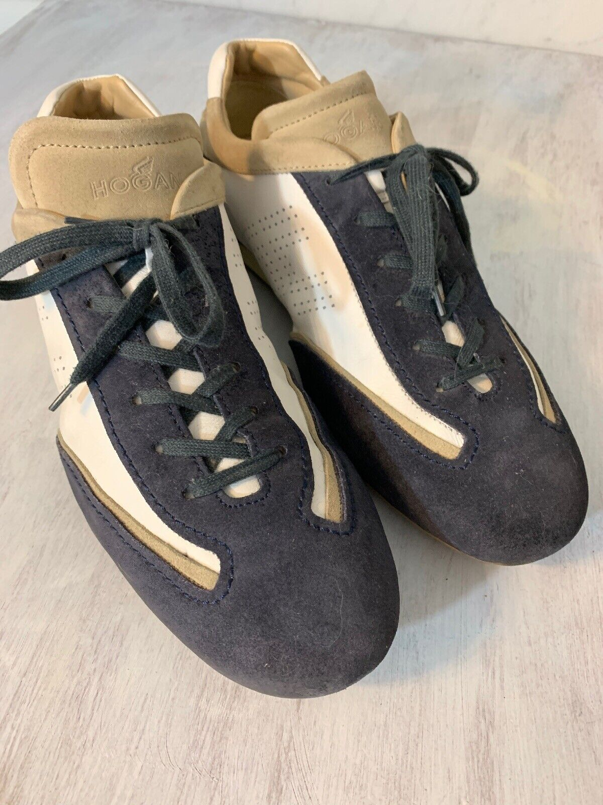 Stupendous Hogan Sneakers 10 Mens Tri Tone Suede Leather White Navy Khaki Gmtry Best Dining Table And Chair Ideas Images Gmtryco