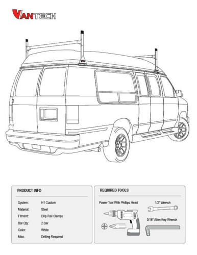 Ford Econoline Conversion Van 2 bar 1975-1991 Ladder Roof Racks Steel White Rack