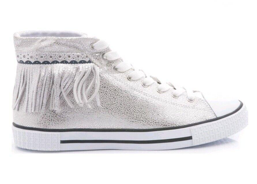 Trussardi Jeans Alta Con Flecos De Cuero Zapatillas Hi Top de Plata Talla