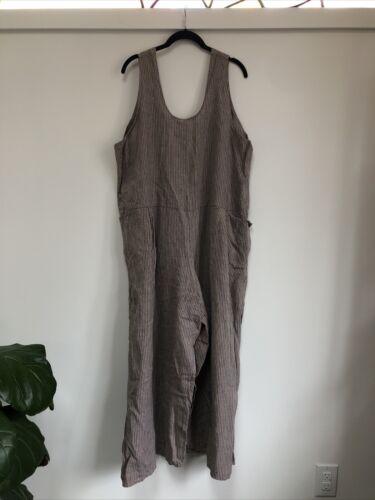 Vintage Large Linen Flax Jumpsuit Plus Size Stripe