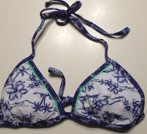 Ladies Arizona Blue /& White Reversible Palm Tree Bikini Swim Top Juniors S L M