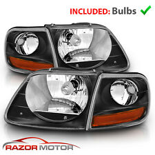 For 97 0302 Ford F150 Expedition Lightning Style Black Headlight Corner Pair Fits 1997 Ford F 150