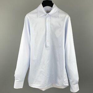 PRADA-Size-S-Light-Blue-Stripe-Cotton-Button-Up-Long-Sleeve-Shirt