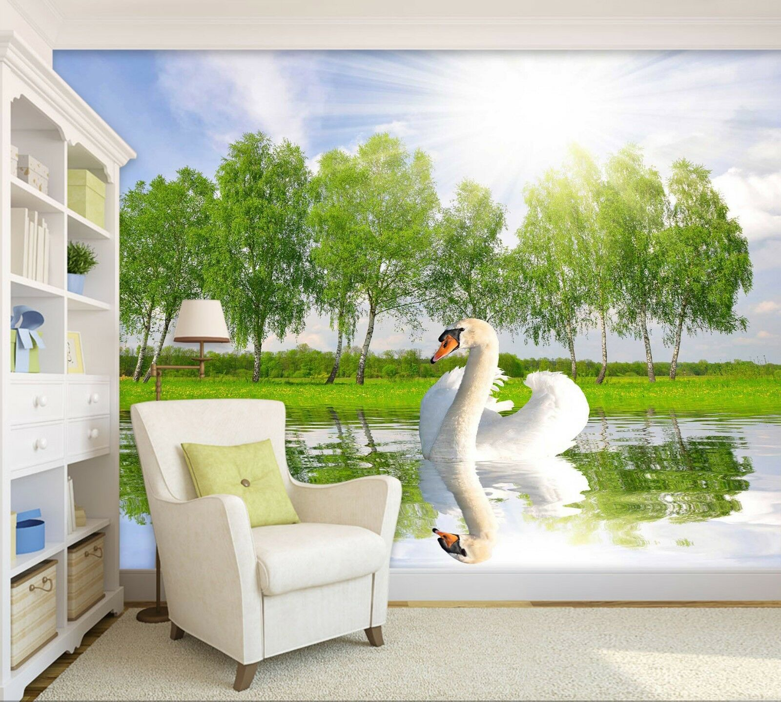 3D Swan Lake Tree 7176 Wallpaper Mural Wall Print Wall Wallpaper Murals US Lemon
