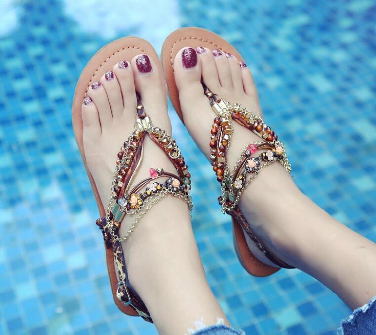 Women's Rhinestones Beach Strappy Flower Casual Boho Flats Summer Sandals Shoes