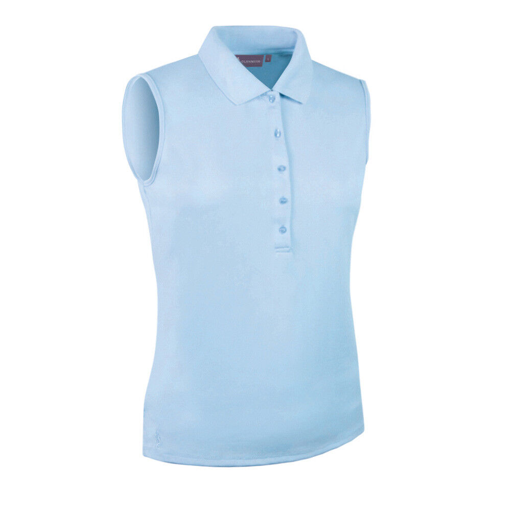 Glenmuir Ladies Sleeveless Pique Knit Polo with Stretch in Sky bluee