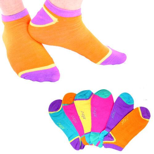 6 Pair: Sugar Ladies Neon No-Show Ankle Socks