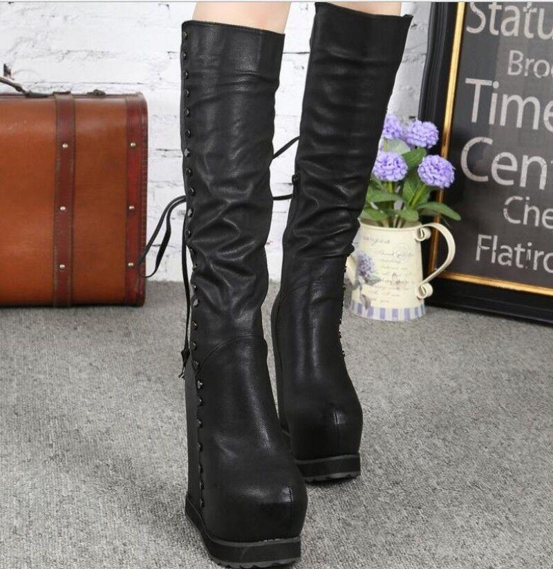 Women's Lace up Rivets Rivets Rivets Platform Hidden Wedge Heels Knee High Boots Europe shoes 1ac9f0
