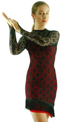 8 10 12 14 Red Black Lace Modern Jazz Latin Ballroom Salsa Dance Dress Costume