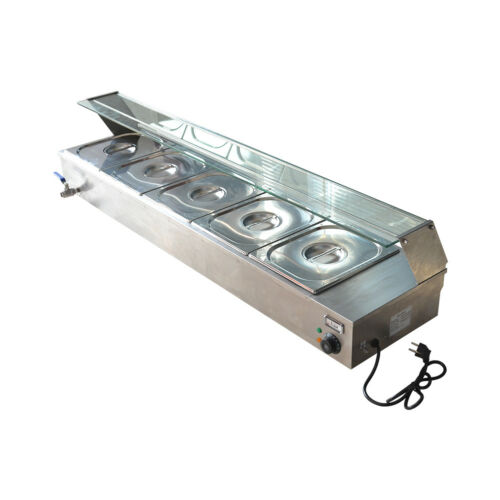 TOP5-Pan Steamer Bain-Marie Buffet Countertop Food Warmer Steam Table 220V 1500W