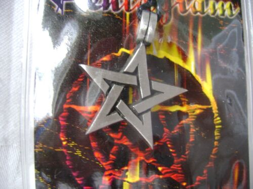 NEW PENTAGRAM PENDANT NECKLACE FINE PEWTER ON BLACK STRING 5 POINTED STAR PUCK