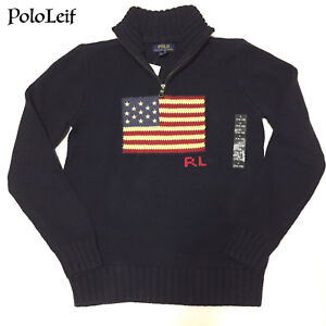 Image is loading 89-BOYS-POLO-RALPH-LAUREN-FLAG-SWEATER-HALF-