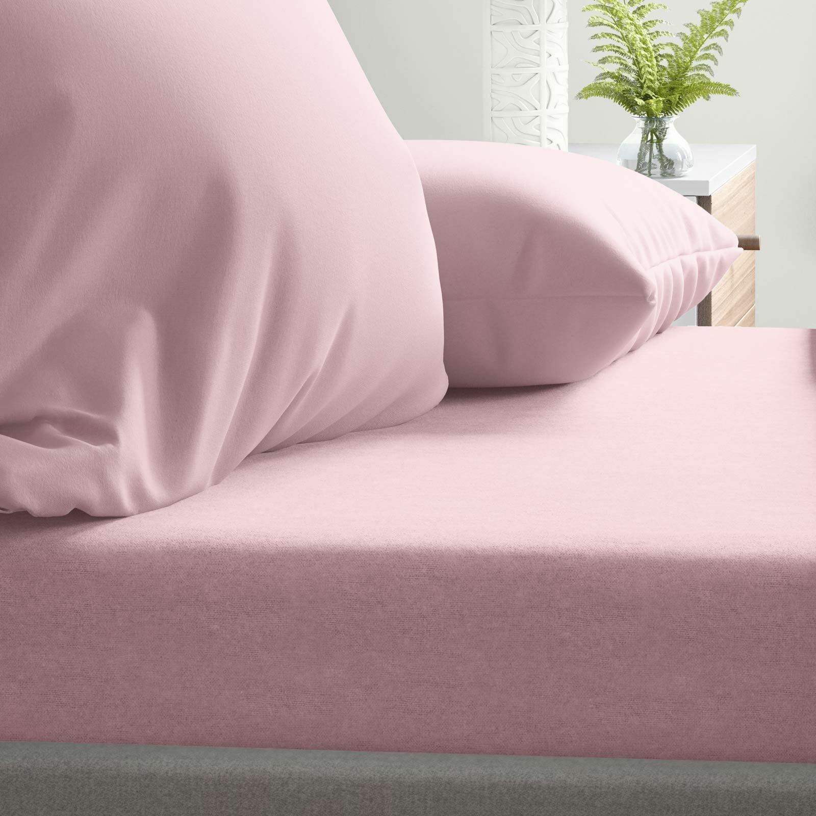FOGLI Spazzolato rosa flanelletta 100% Cotone Spazzolato FOGLI Lenzuolo Aderente Set di biancheria da letto f3a8ae