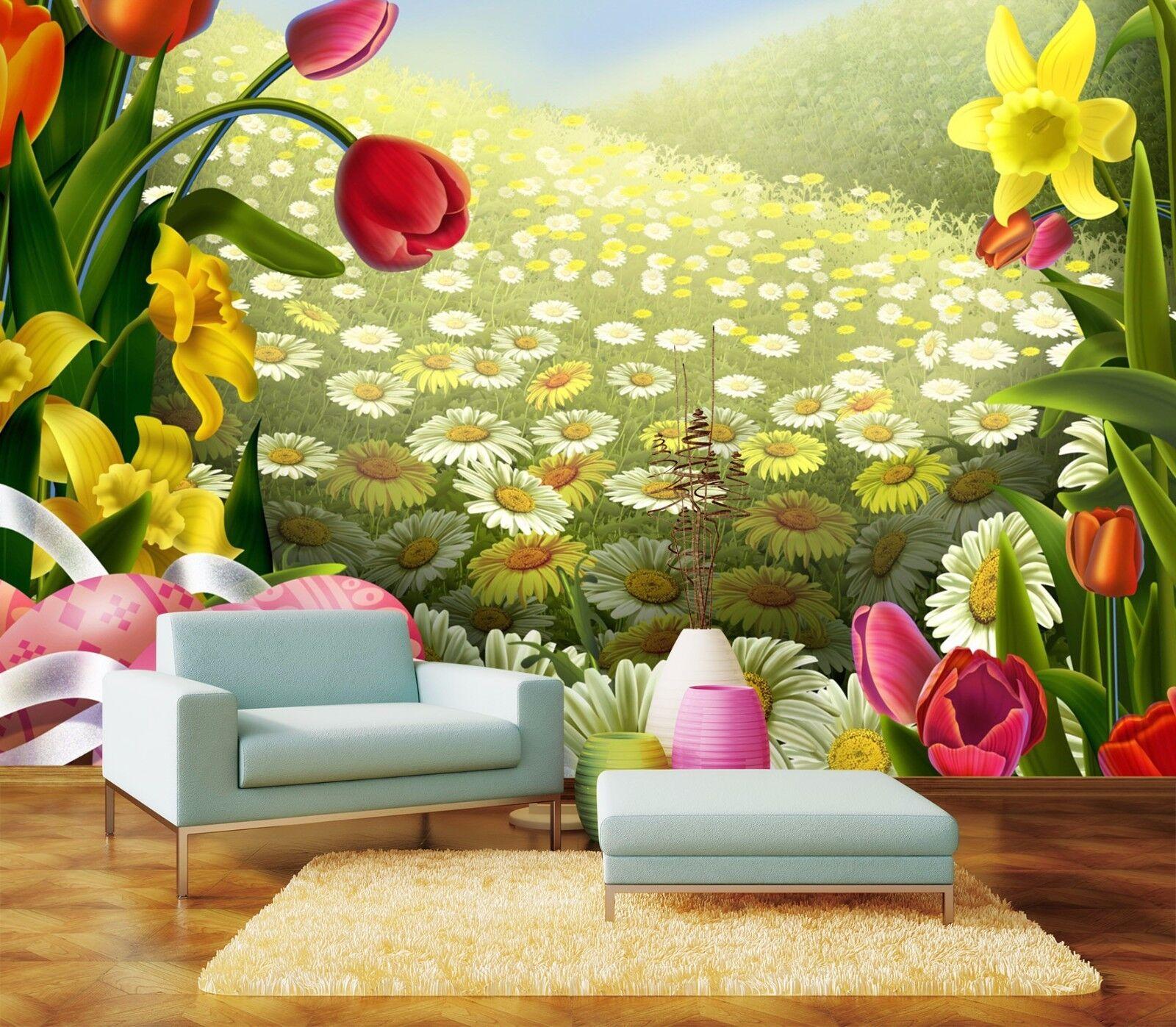 3D Tulip Daisy Field 8 Wall Paper Murals Wall Print Wall Wallpaper Mural AU Kyra