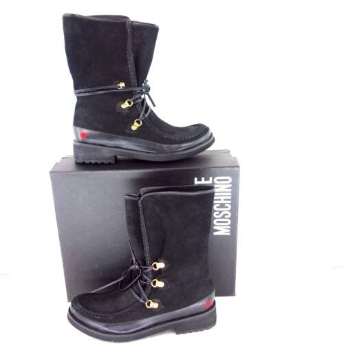 220d1ce5916 Np Schuhe Boots Stiefeletten Damen Gr Schwarz Moschino Neu Wildleder 189 36  Love qagzH6wa