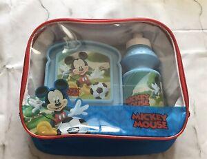NUOVO Mickey Mouse Blu Bambini 3 PC. Borsa Pranzo Scatola e Bottiglia Set PER LA SCUOLA TERMICO
