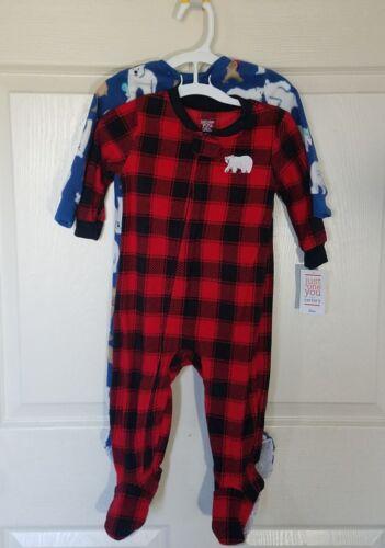 Boys 2 pack Fleece Buffalo Check /& Polar Bears Footed Pajama Set Just One You