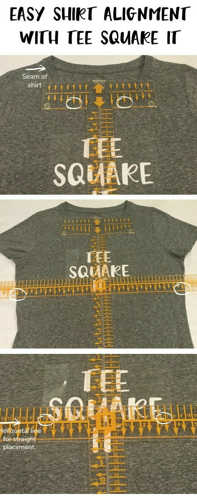 Tee Square It 3 Vinyl Crafting Alignment Tool For Sale Online Ebay