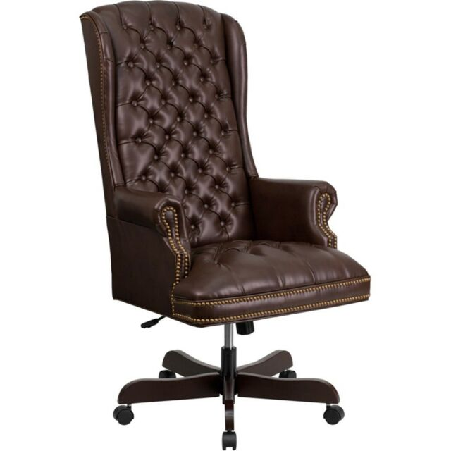 Flash Furniture Traditional Upholstered Executive Office Chair In Brown For Sale Online Ebay