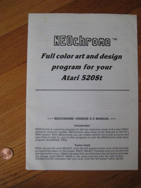 1985 Vintage Neochrome Art & Design Program 0.5 Manual Atari 520st Computer Book