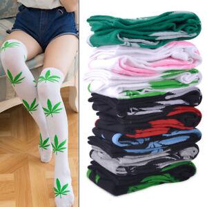 Women-Girl-Marijuana-Weed-Leaf-Sport-High-Stocking-Over-the-Knee-Long-Socks