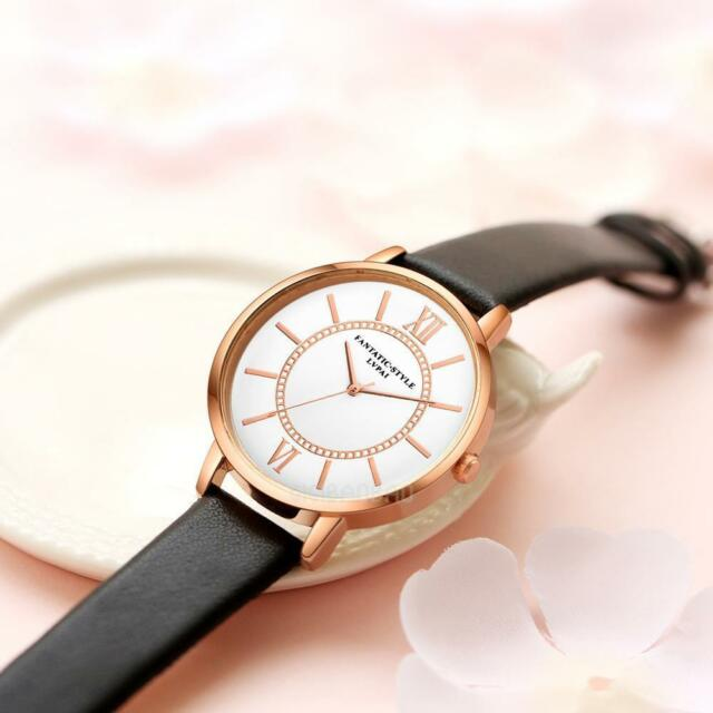 Ladies Fashion Rose Gold White Faced Quartz Roman Numeral Black Band Wrist Watch