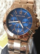 Michael Kors MK5410 Dylan Ladies Watch CHRONO Rose Gold & Blue Bel Aire MK5410