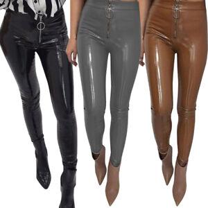 Women-Sexy-Shiny-Latex-Leather-Pants-Tight-PU-Zipper-Leggings-Pants-Trousers-Hot