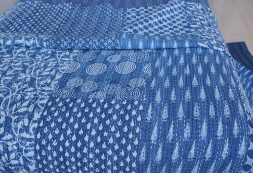 Indian Handmade Vintage Kantha Quilt Blanket King Size Bedspread Ethnic Ralli 45
