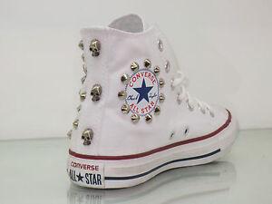 Converse all star Hi borchie e teschi scarpe donna uomo Bianco ...
