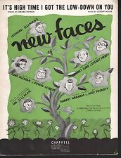 It's High Time I Got The Low Down On You 1936 New Faces  Sheet Music