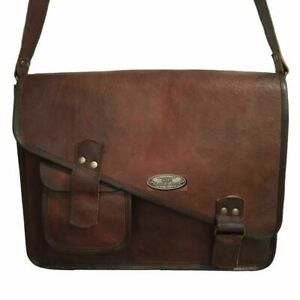 Leather-Messenger-Bag-Shoulder-Laptop-Bag-Briefcase-18-034-Women-Vintage-Flexible