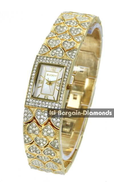 8f4ce8222 ladies Elgin gold tone hearts success party watch MOP white CZ bracelet