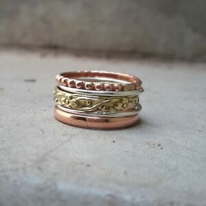 Dainty Ring Ab15 Set of Ultra Thin Hammered Twist Sterling Silver Band Stacking Rings