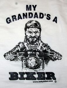 Children-Baby-Kids-Bike-Slogan-T-Shirt-My-Grandad-039-s-A-Biker-White