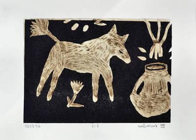nabARus 160716-7 Pointe sèche//chine collé 9x13 sur papier 13x18 cm Art Singulier