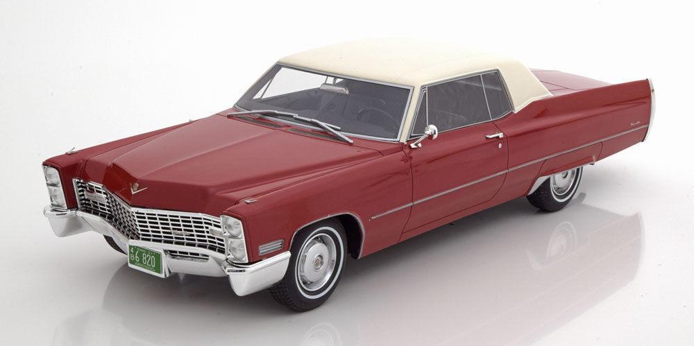 Bos 1967 Cadillac Deville Coupé Rosso con Bianco Tettuccio le 504pcs 1 18 Nuovo