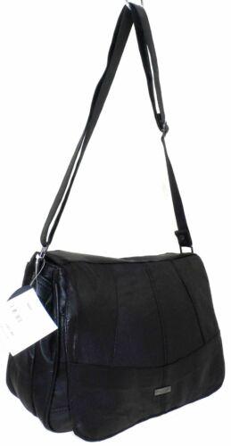 Ladies Women Lorenz Real Leather Multi Pocket Cross Body Messenger Shoulder Bag