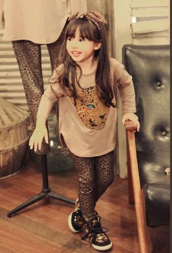 2Pcs Kids Baby Girls Dress Leopard Long Sleeve T-shirt leggings Pants Set 2-7Y