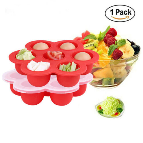 Silicone Weaning Baby Food Freezer Tray 7 Pots Storage Container with Lid G