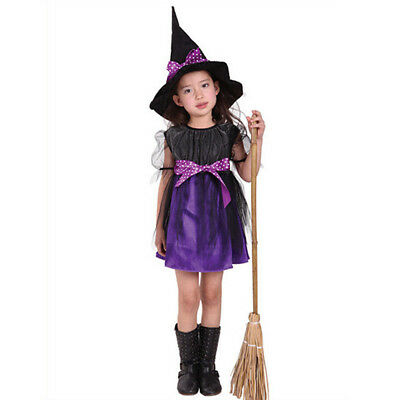 UK Halloween Kids Baby Girls Party Dress + Hat Set Party Costume Dresses Clothes