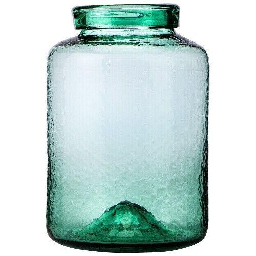 """Threshold™ Wavy Glass Jar Vase - Green 11.42"""""""