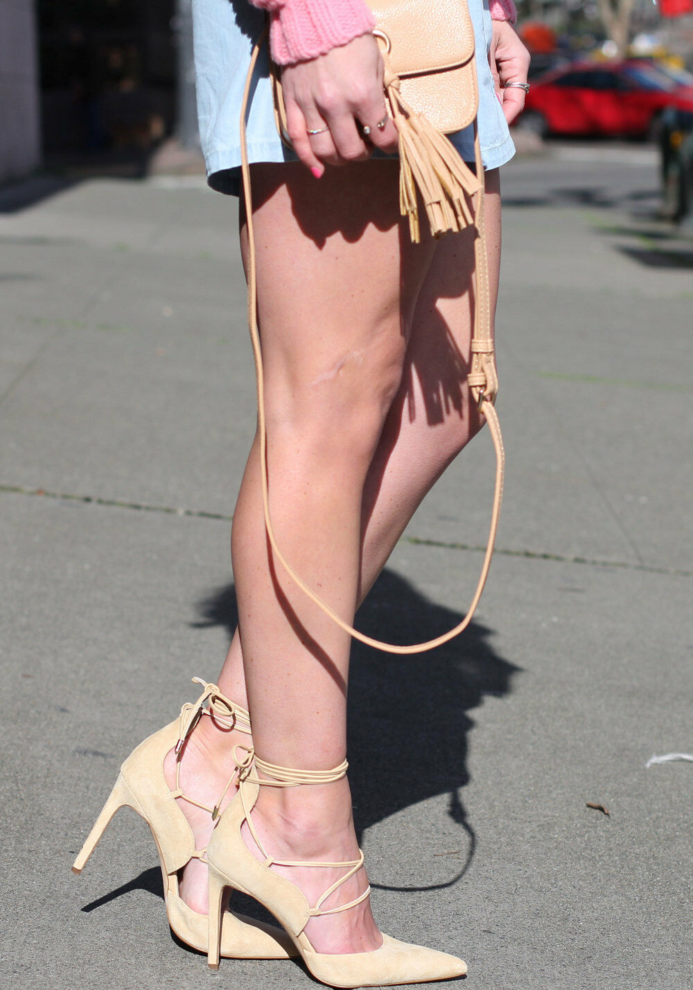 SAM EDELMAN EDELMAN SAM DAYNA LACE UP PUMPS 7.5 Nude Suede Pointed Toe Heels Trend Schuhes 906425